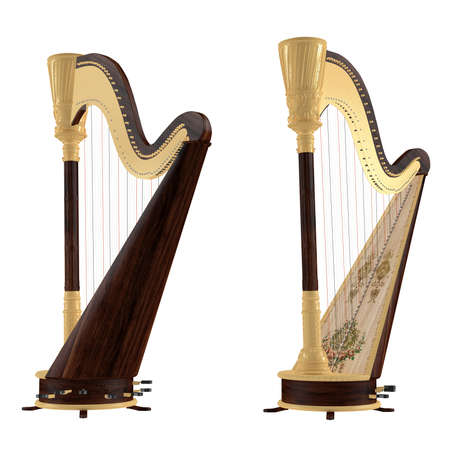 Ancient harp isolated. Two angles of view Banco de Imagens - 24755342
