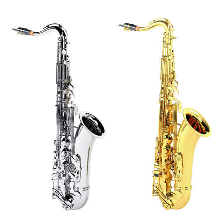 tenor: gold copper and silver chrome saxophone isolated Stock Photo