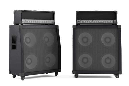 amp: bass guitar amplifier isolated. Two points of view