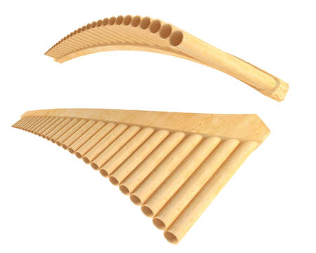 Simple wooden Pan Flute Isolated photo