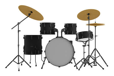 drumset: Drums isolated. Black drum kit. Stock Photo