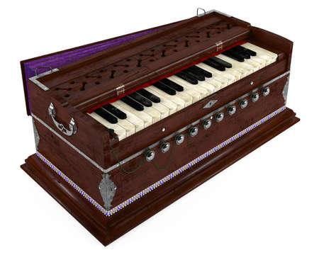 Old Indian harmonium isolated Banco de Imagens - 24755519