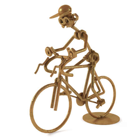 static bike: techno art cyclist statuette