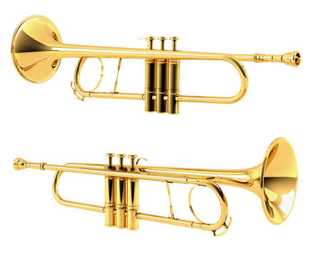 louis armstrong: Golden trumpet isolated. Multiple angles of view