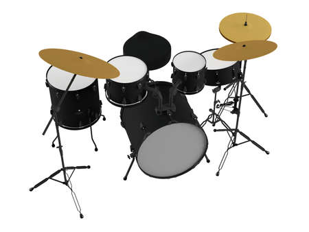 drum and bass: Drums isolated. Black drum kit. Stock Photo