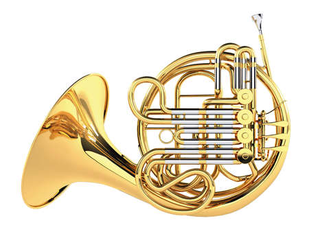 trumpet: Double French Horn isolated