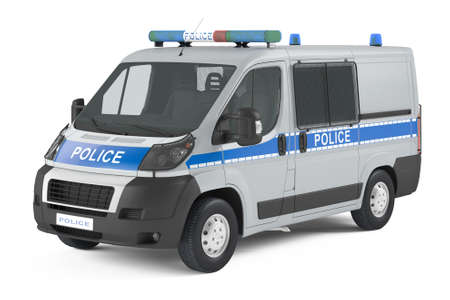 police arrest: police car isolated Stock Photo
