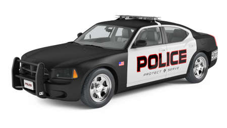 Police car: Police car. Sport and modern style. Stock Photo