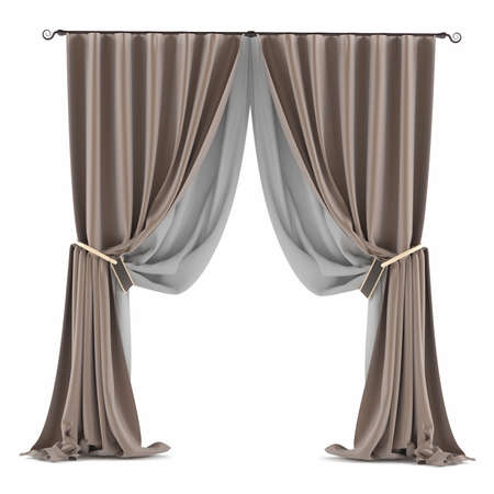 brown grey curtain isolated