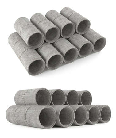 Industrial concrete pipes. Tubes at the white background photo