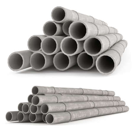 Industrial concrete pipes. Concrete tubes small radius photo