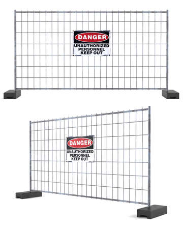unauthorized: Danger unauthorized personnel keep out at the white background Stock Photo