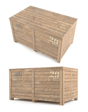 viewpoints: Wood Box parcel. Two viewpoints at the white background Stock Photo