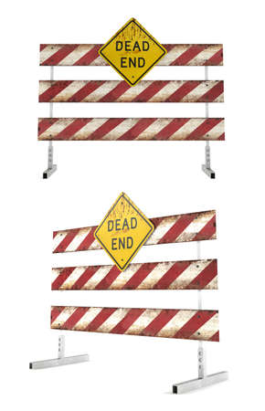 barricades: Road closed barricades. Dead end at the white background