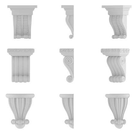 doric: classic column. Ornamental elements at the white background
