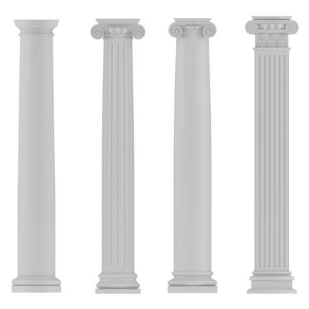 doric: Architectural classic columns at the white background