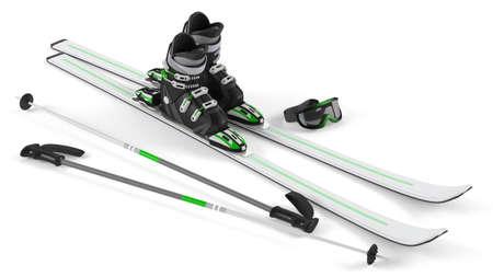 ski goggles: Ski, sticks, mask items isolated at the white background Stock Photo