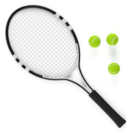 Tennis racket and ball isolated at the white background