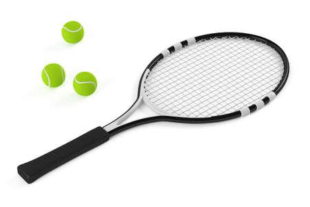 raqueta de tenis: Raqueta de tenis y bola aislados en el fondo blanco