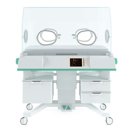 Modern neonatal baby incubator isolated at the white photo