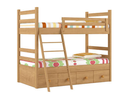 bunkbed: Bunk bed isolated at the white background Stock Photo