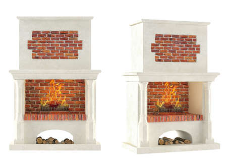 Fireplace isolated at the white background photo