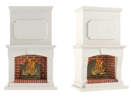 mantelpiece: Fireplace isolated at the white background