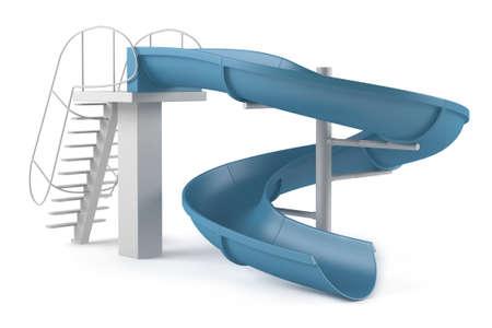 Aquapark slide tube isolated at the white background