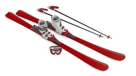 Ski red isolated at the white background Stock Photo