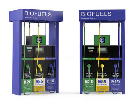 Biofuels station isolated at the white background Banco de Imagens