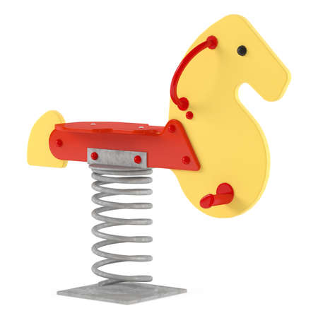 Animal Toy on the playground. Swing horse isolated Banco de Imagens