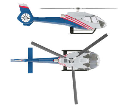 Helicopter isolated. Top and Front view