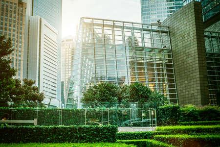 enviroment: Shanghai city scape in sunset time. Modern enviroment. Stock Photo