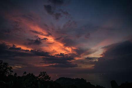 Beautiful sunset sky in tropic island