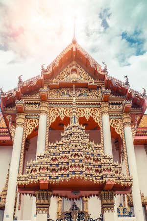 Thai temple. Wat Patong Temple, Suwankeereewong Phuket, Thailand. Banco de Imagens