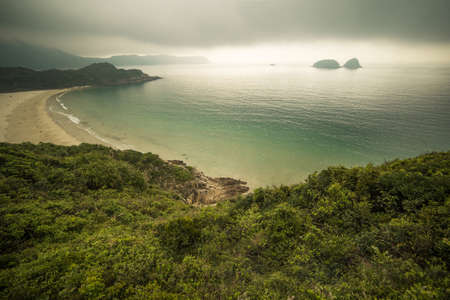 Horizontal outdoors shot of forest and sandy coast from above Banco de Imagens - 106271248