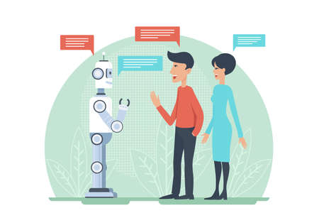 Man and woman greeting and speaking with artificial intelligence android robot vector illustratrion. AI cooperation. Çizim