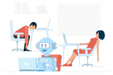 Hardworking positive android using laptop near exhausted man and woman in office vector illustration.