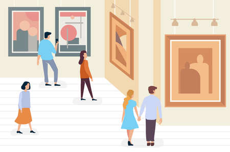 Exhibition visitors people walking and viewing modern abstract paintings at contemporary art gallery museum minimalistic vector illustration.