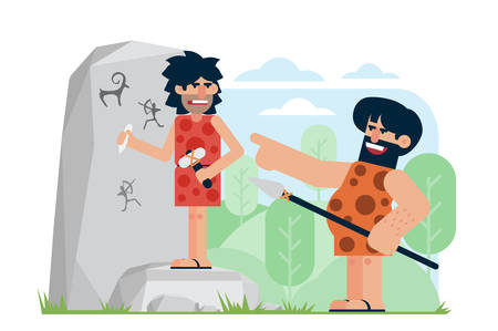 Prehistoric man with spear laughing and pointing at annoyed artist carving petroglyphs on rock. Scoff at intelligent individuals cartoon flat vector illustration.