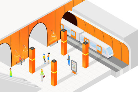 Isometric people standing on platform and waiting for train in city metro subway vector illustration. Ilustração