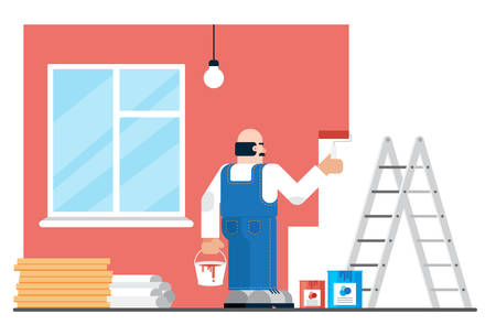 Hired man in uniform painting walls during renovation in modern apartment. Home or website repairing concept vector illustration.