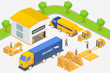 Isometric employees putting boxes into trucks of delivery service while working in warehouse. Transportation industry, delivery and logistic vector illustration. Illusztráció