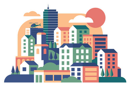 City buildings flat vector illustration. Townhouse, condominium. Apartment houses. Cityscape, flying helicopter over multi-storey structures. Skyscrapers, city street with various urban buildings Banco de Imagens - 127371765