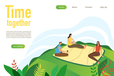 Time together flat landing page vector template