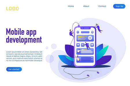 Mobile app development landing page isometric vector template. Phone application build 3d concept. Coding and programming. Smartphone webpage interface building process website homepage layout Banco de Imagens - 127542473
