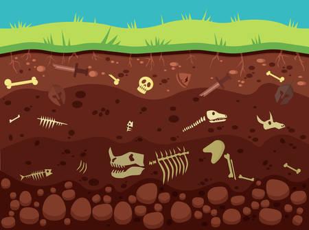 Archeology, historic artifacts underground vector illustration