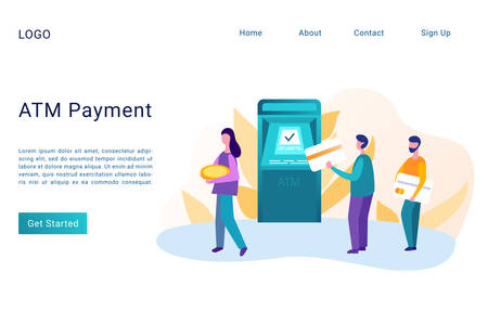ATM payment landing page flat vector template