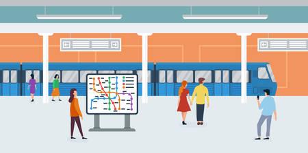 Metro subway tiny people flat vector illustration Ilustração