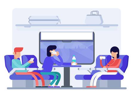 Friends traveling by train flat vector illustration Çizim